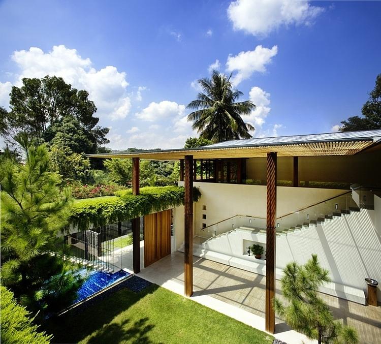 une luxueuse maison avec de la pelouse et des plantes sur le toit. Black Bedroom Furniture Sets. Home Design Ideas