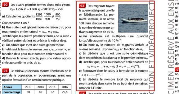manuel scolaire mathématique editions nathan collection hyperbole polémique migrant 2017 pressealgerie